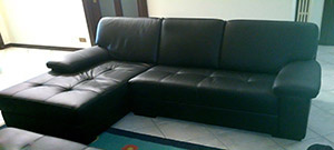 Custom Leather Corner with Chaise Longue