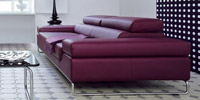 Barmen Leather Sofa: side view