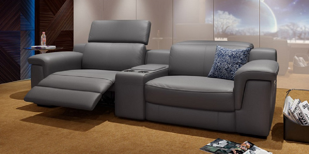 Leather Sofa Big Relax with central Unit 112.17