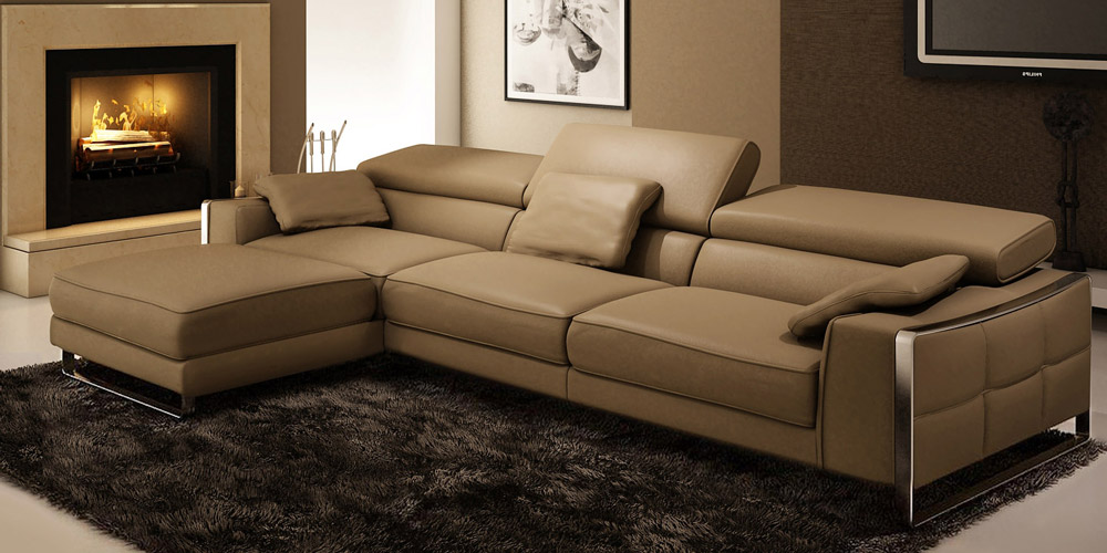 Corner sofa of light brown leather