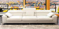 Corner sofa of white leather