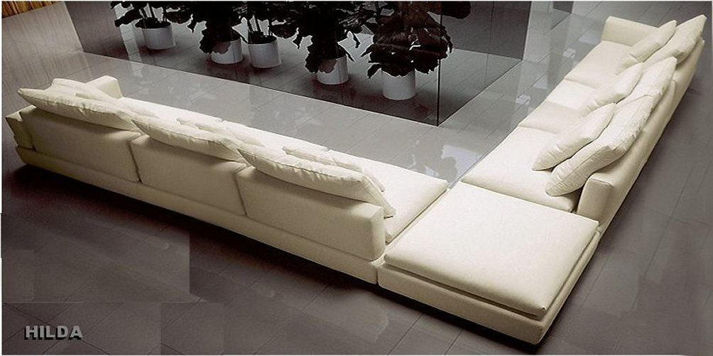 Leather Corner Sofa Hilda: Front view