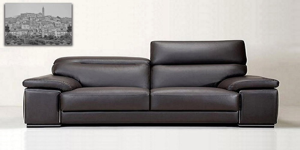 3 Seater Sofa of Black Leather Knight