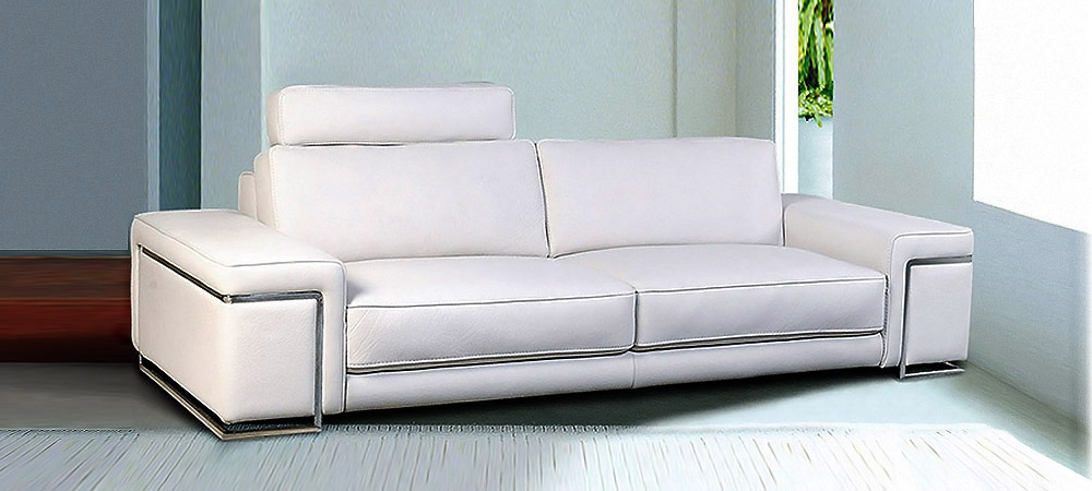 Torino Sofa Of White Leather