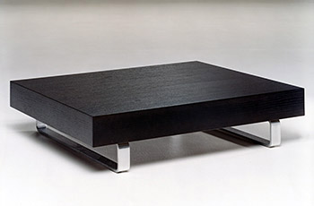 Coffee table with steel legs